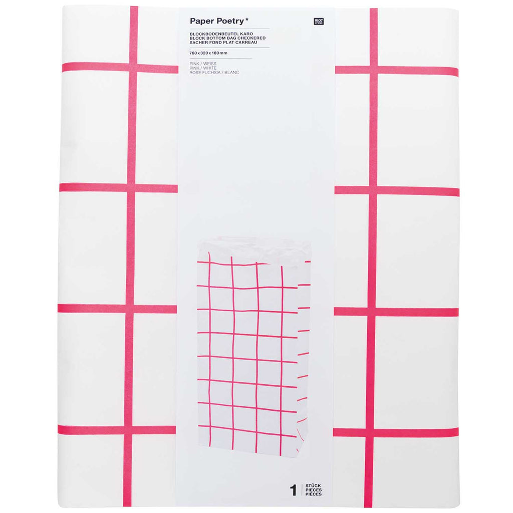 Block Bottom Paper Bags, Pink and White - Extra Large, 1 piece