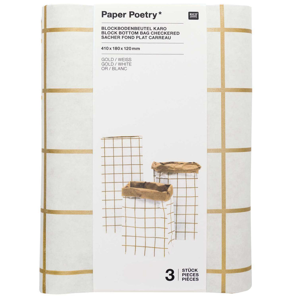 Block Bottom Paper Bags, Gold and White - Small, 3 pieces
