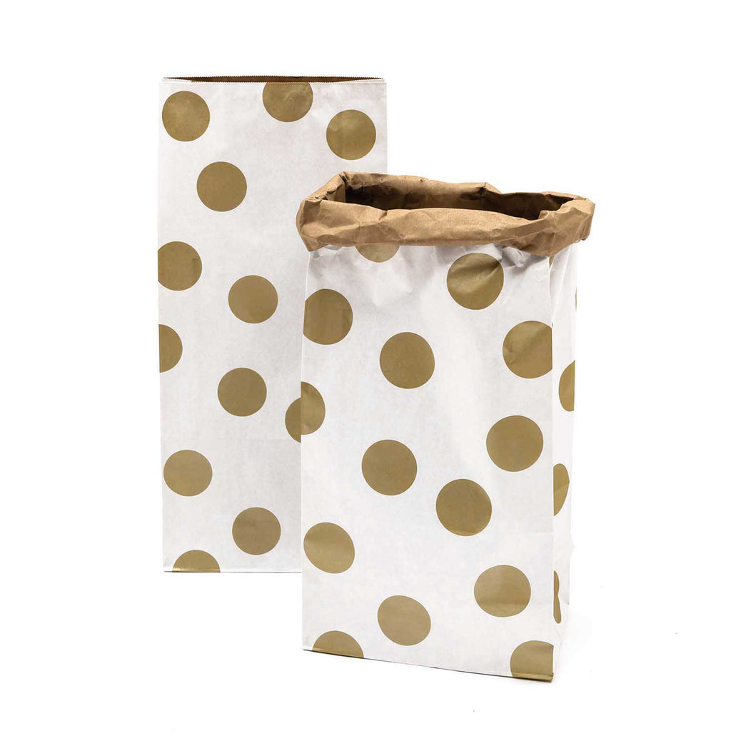 Block Bottom Paper Bags, Gold and White - Large, 2 pieces