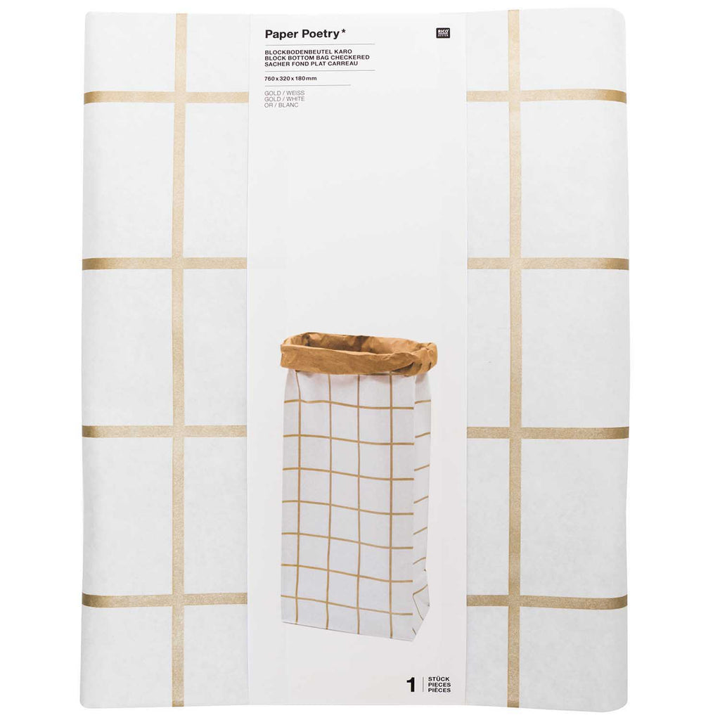 Block Bottom Paper Bags, Gold and White - Extra Large, 1 piece