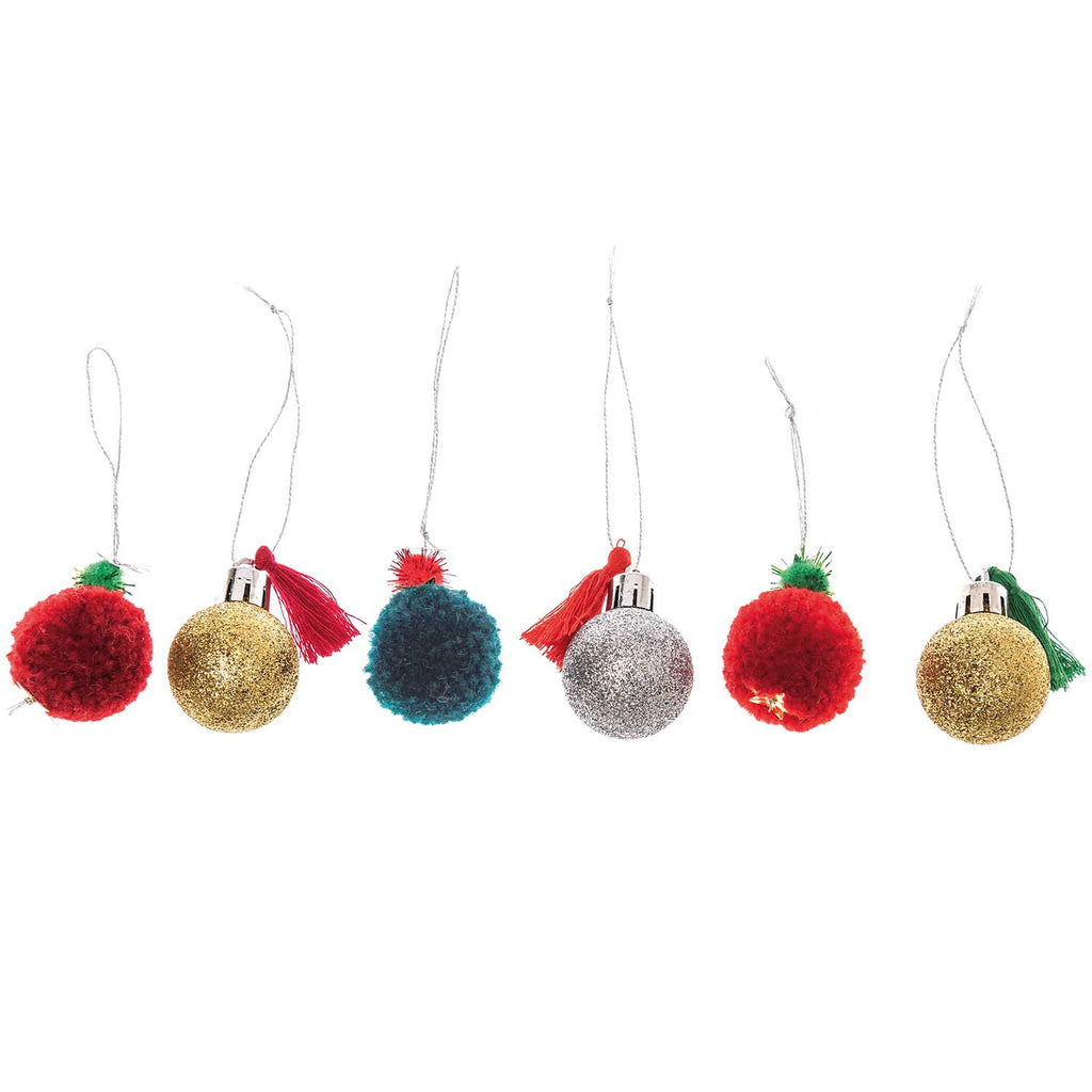 Red and Green Bauble and Pom Pom Decorations