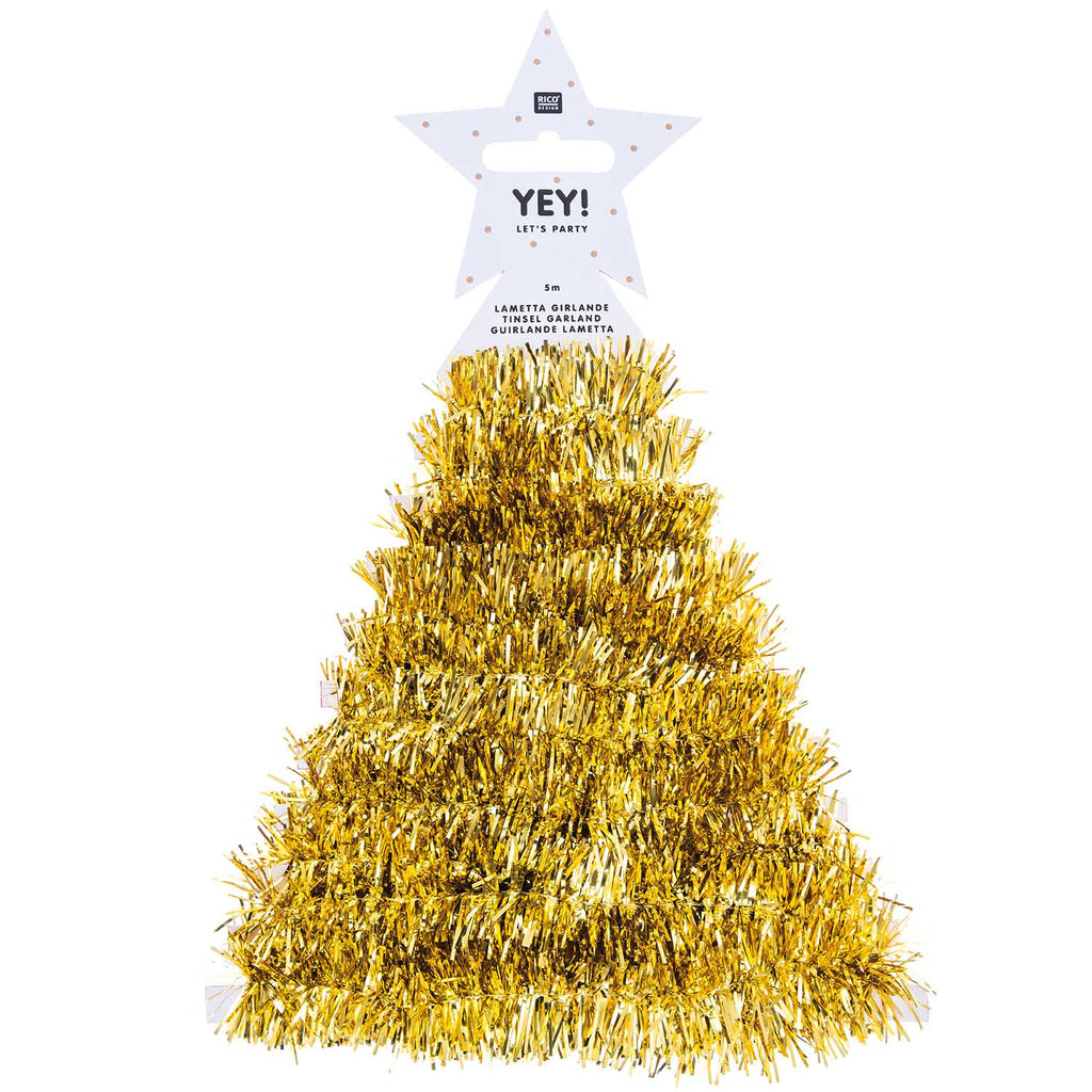 Tinsel Garland 5m - Gold