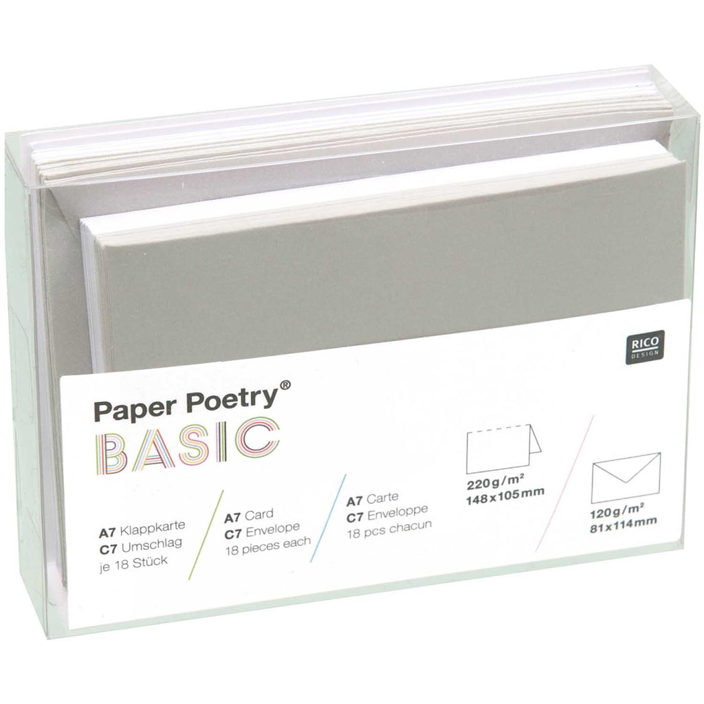 Box of 15 C7 Cards and Envelopes - Grey