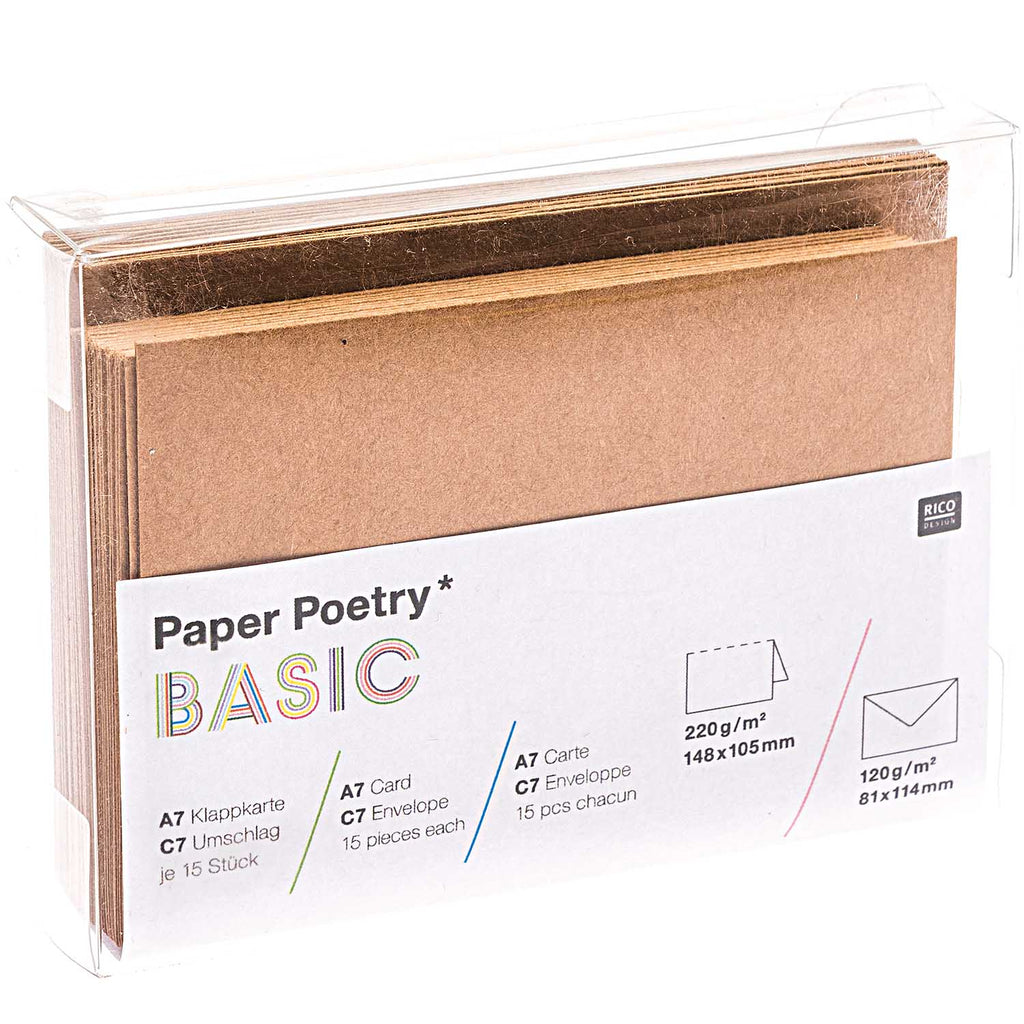 Box of 15 C7 Cards and Envelopes - Kraft