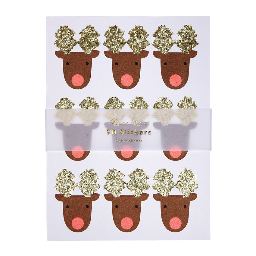 Glitter Reindeer Christmas Stickers