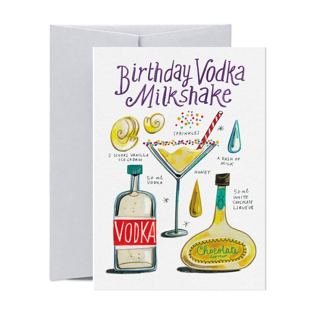 Birthday Vodka Milkshake Recipe Card