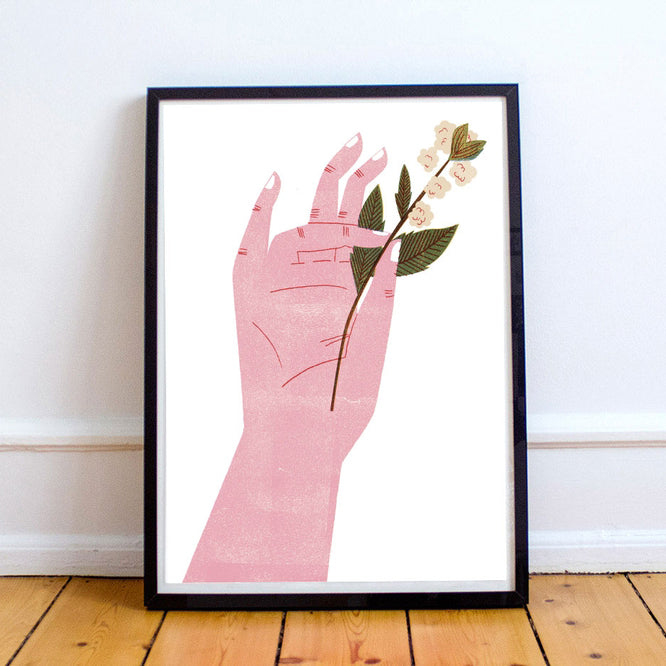 Flower Hand - Cotton A3 Digital Print
