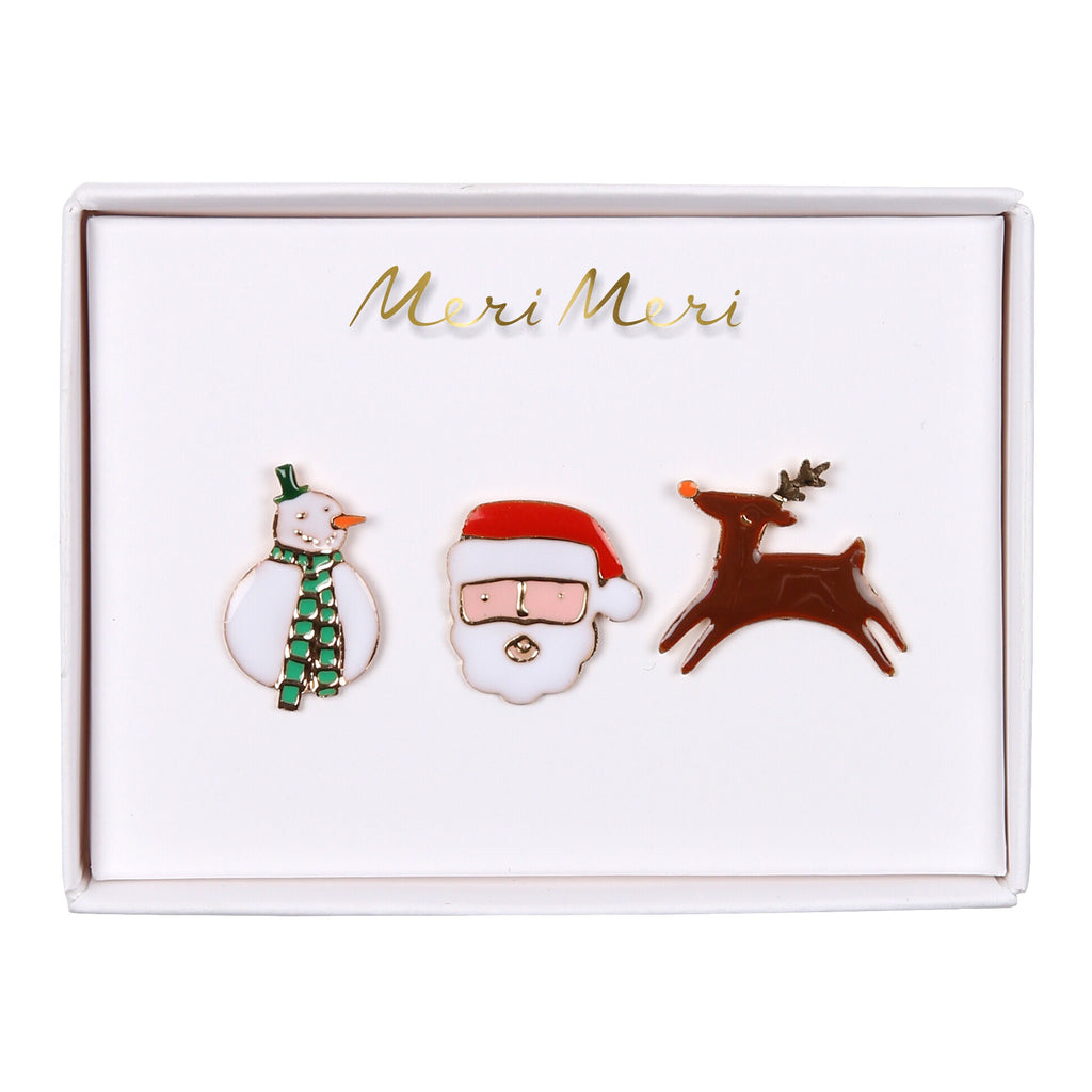 Christmas Character Enamel Pin Badges