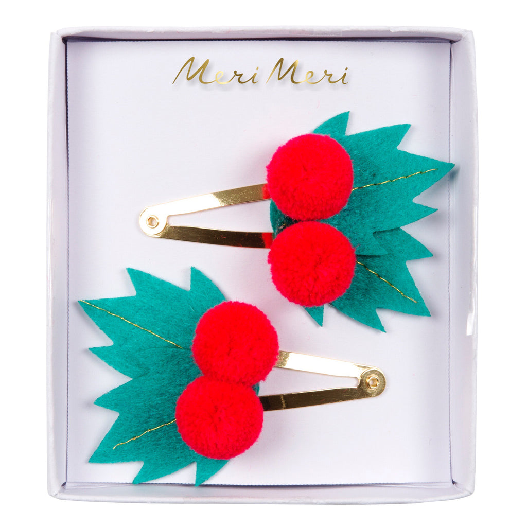 Felt Holly Hair Clips