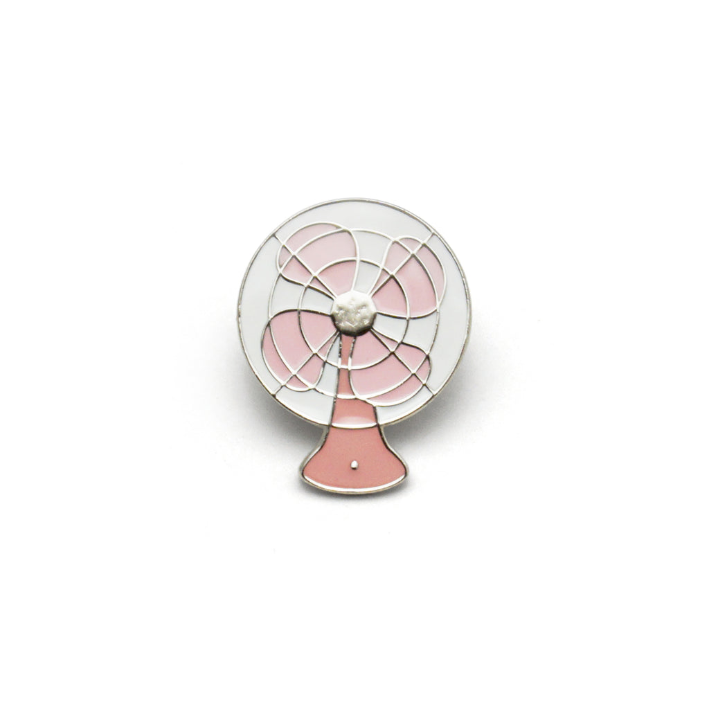 Vintage Pink Fan Enamel Pin Badge