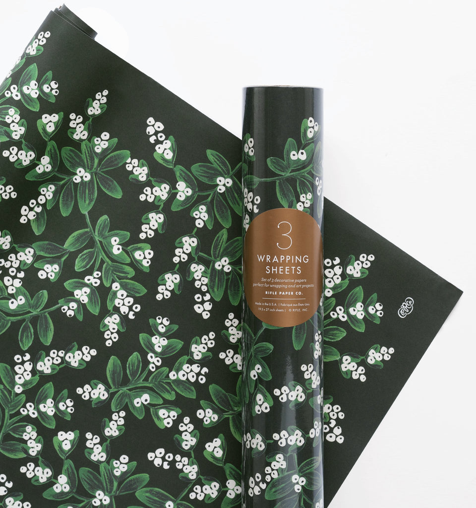 Evergreen Mistletoe - Three Christmas Wrapping Paper Sheets from Rifle Paper Co.