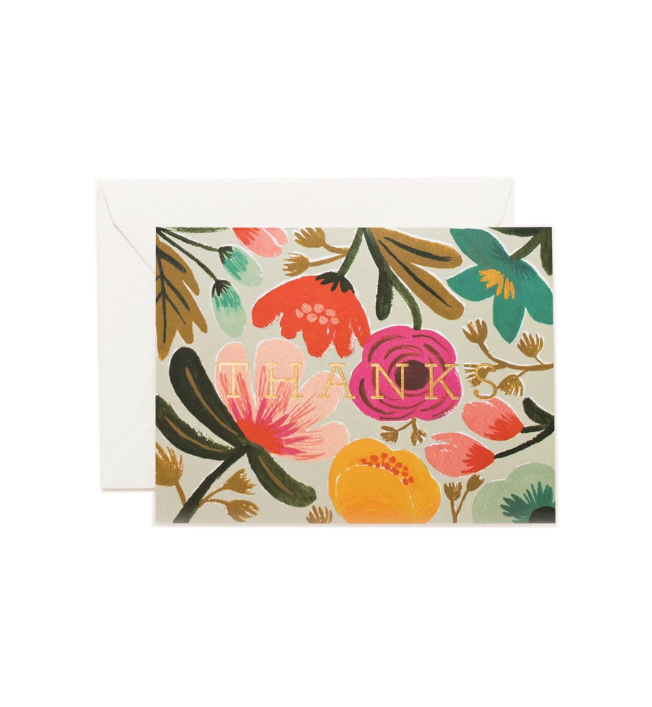 Gold Floral Thanks - Thank You Card by Rifle Paper Co