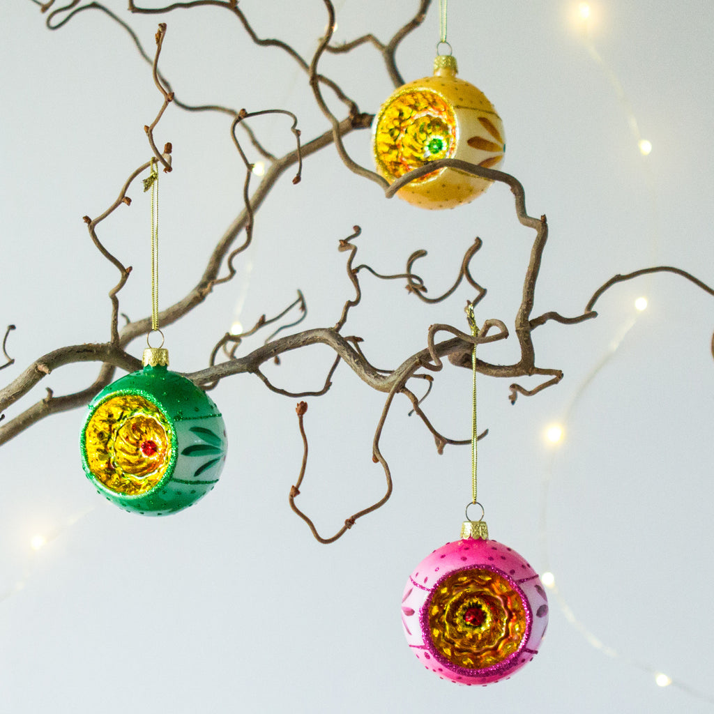 Retro Style Glass Tree Bauble