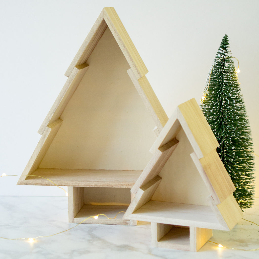 Nesting Wooden Christmas Tree Shelves