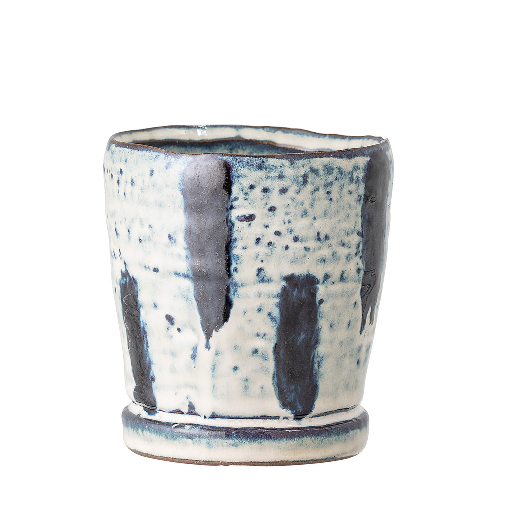 Blue Dash Glazed Stoneware Plant Pot - Small