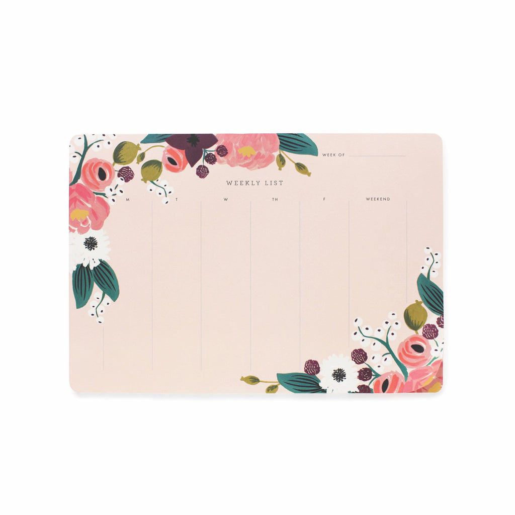 Weekly Desk Pad - Pink Floral