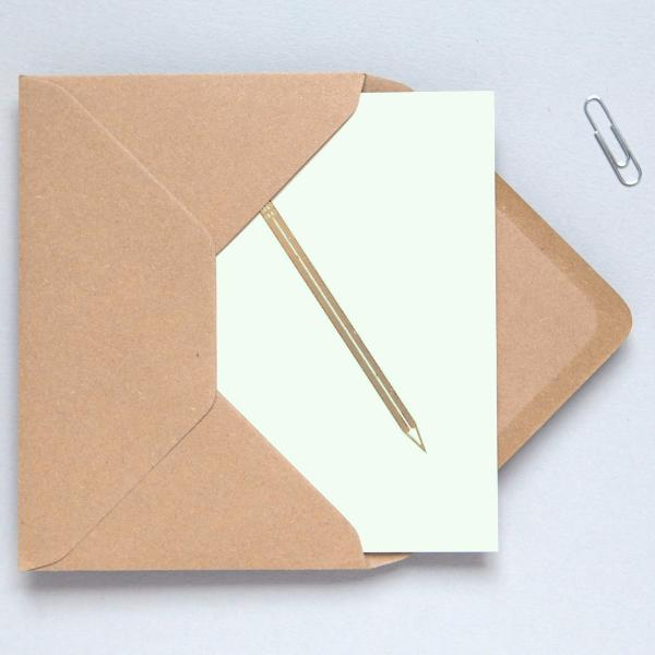 Foil Pencil Print on Mint Greetings Card