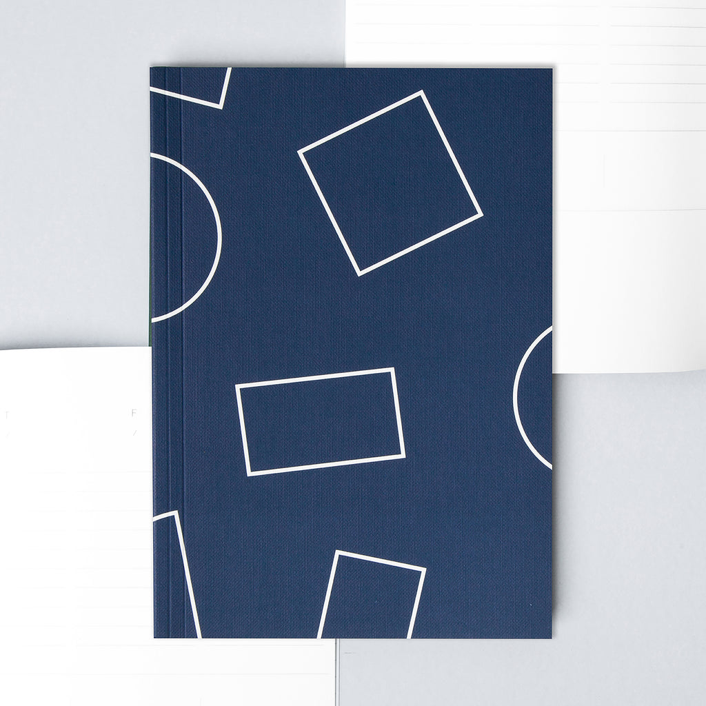 A5 Layflat Weekly Planner in Navy Shapes