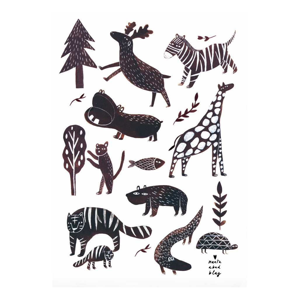 A3 Wild Animals Print by Marta Abad Blay