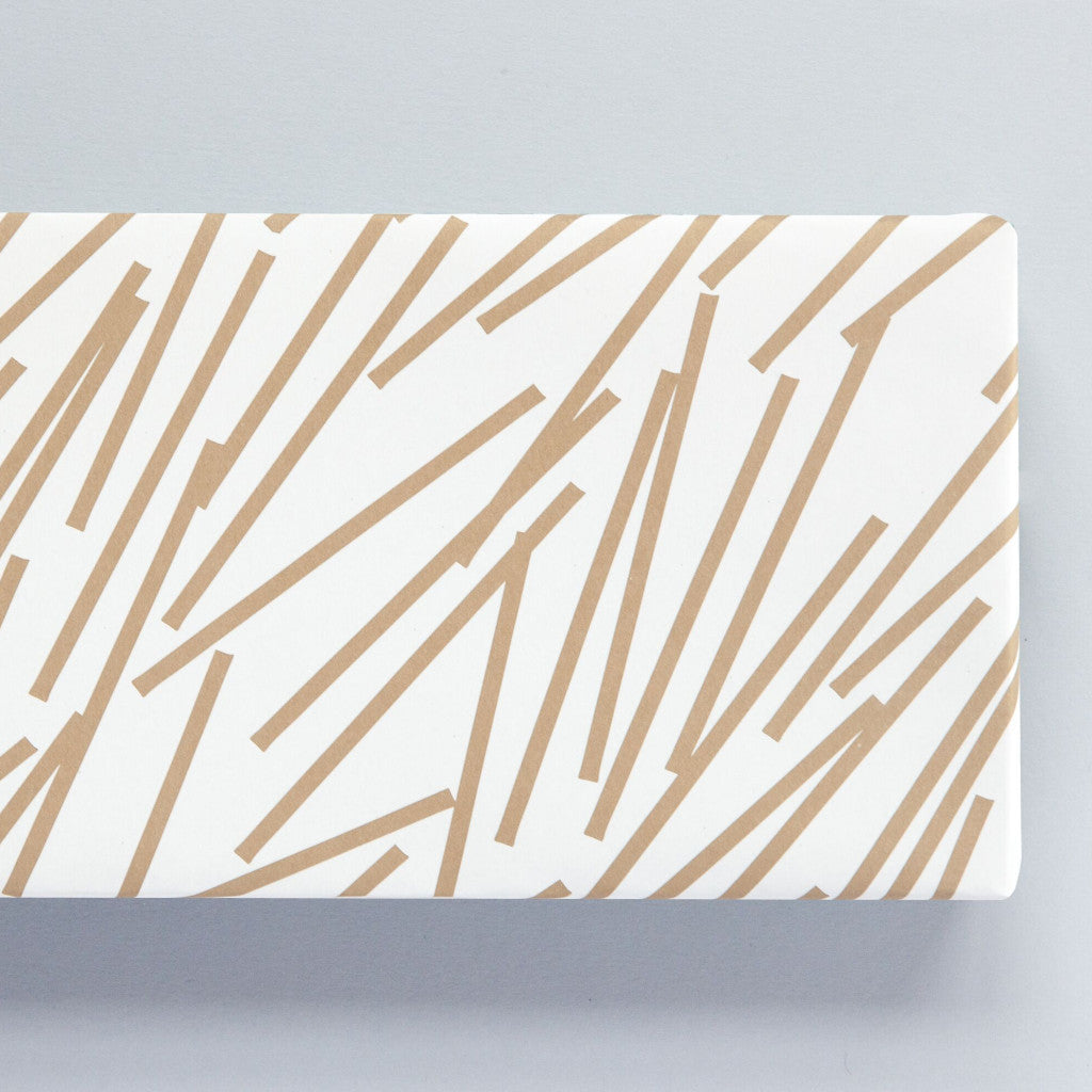 Gold Lines Print Gift Wrap
