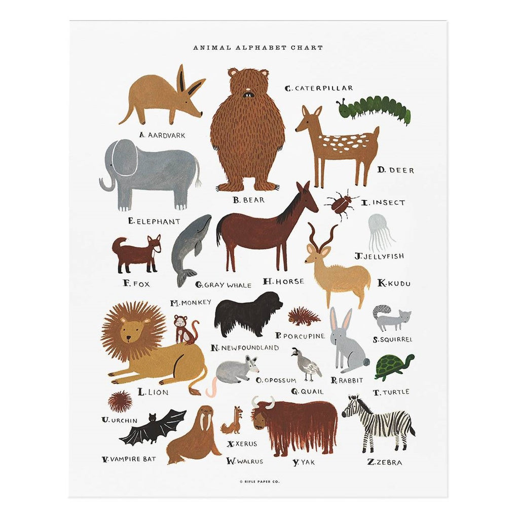 Large Animal Alphabet Chart by Rifle Paper Co