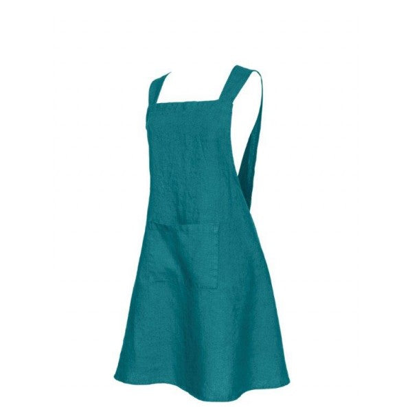 Washed Linen Japanese Style Apron - Teal