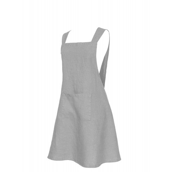 Washed Linen Japanese Style Apron - Light Grey