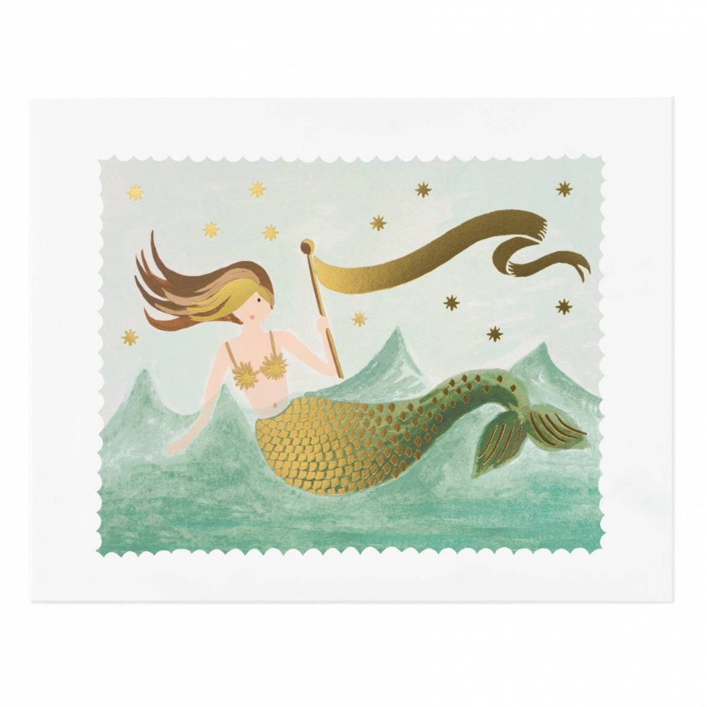 "Vintage Mermaid Art Print by Rifle Paper Co 8""x10"""