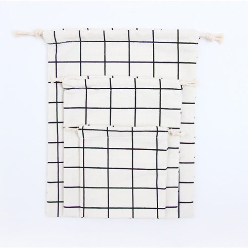 Grid Cotton Gift Bag - Large