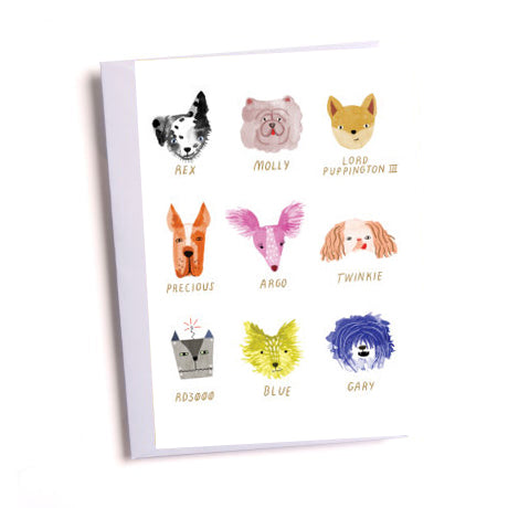Dog Faces Greetings Card