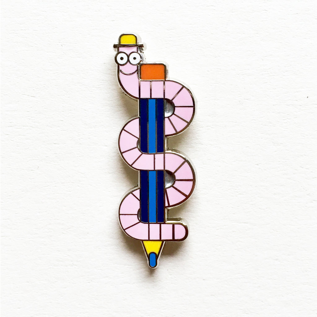 Worm Pen Pin Badge