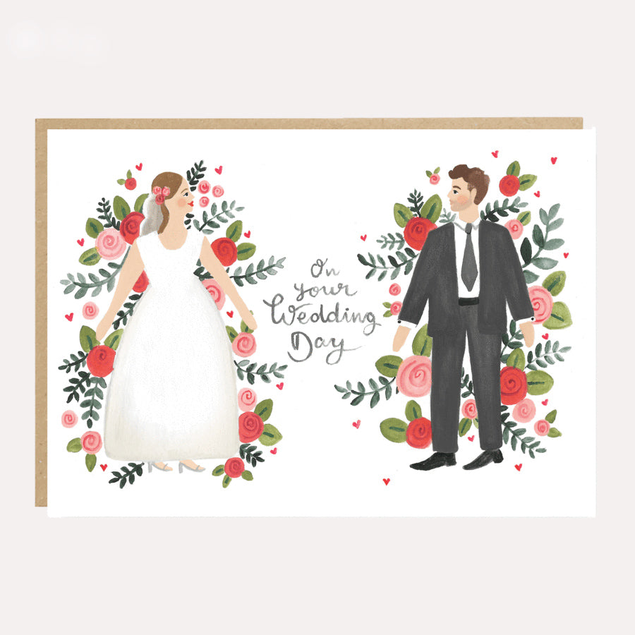 ** Flower Couple Wedding Card
