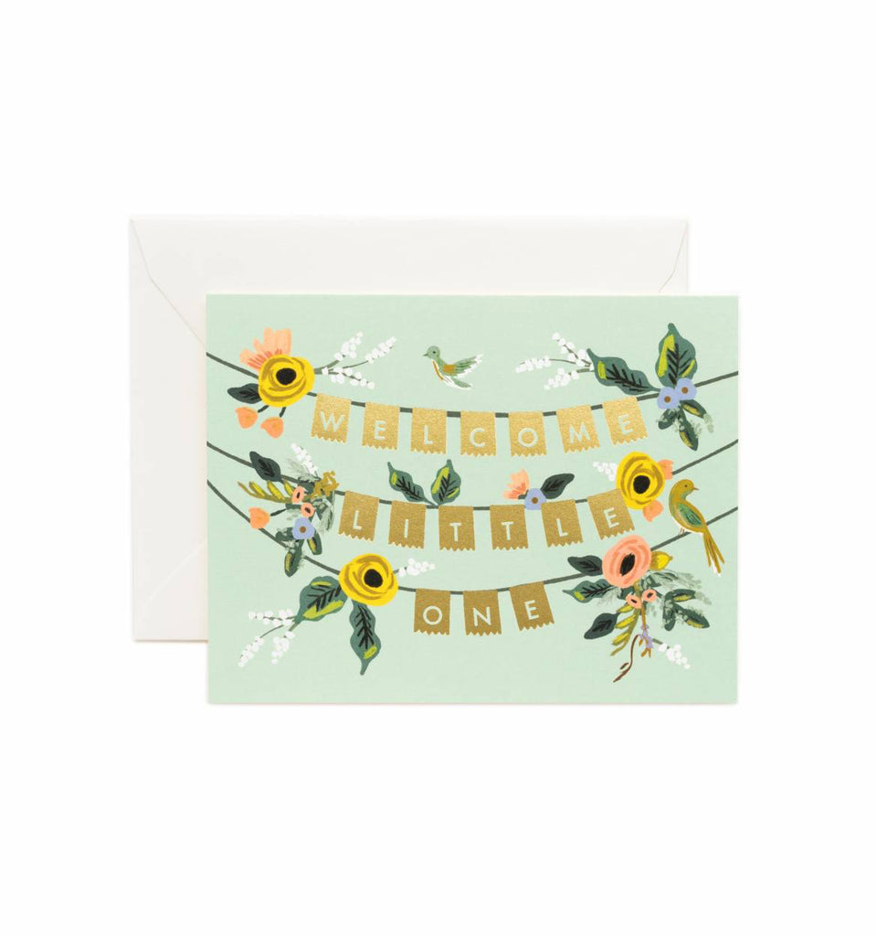 Welcome Little One Garland Baby Card