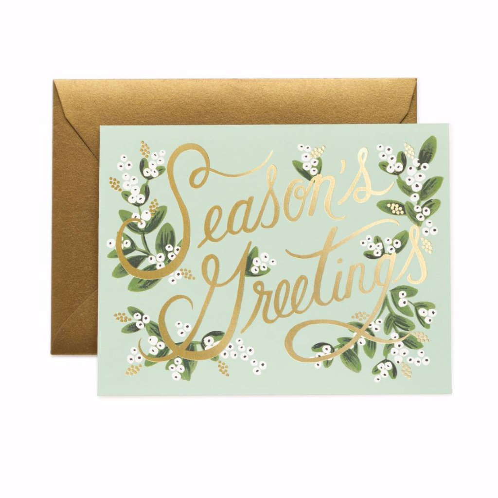 Mistletoe Season's Greetings - Christmas Greetings Card by Rifle Paper Co