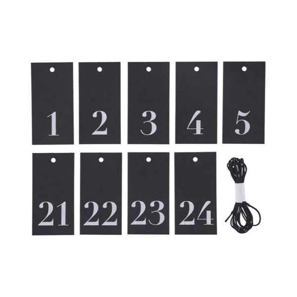 Black and White Advent Tags