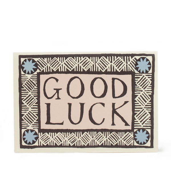 Good Luck Card in Coffee, Pink and Sky Blue