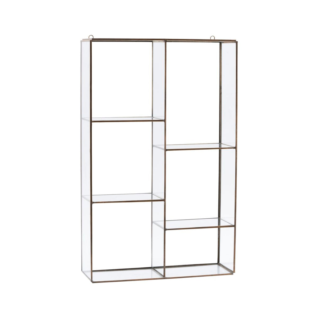 Rustic Brass & Glass Display Shelf - Large