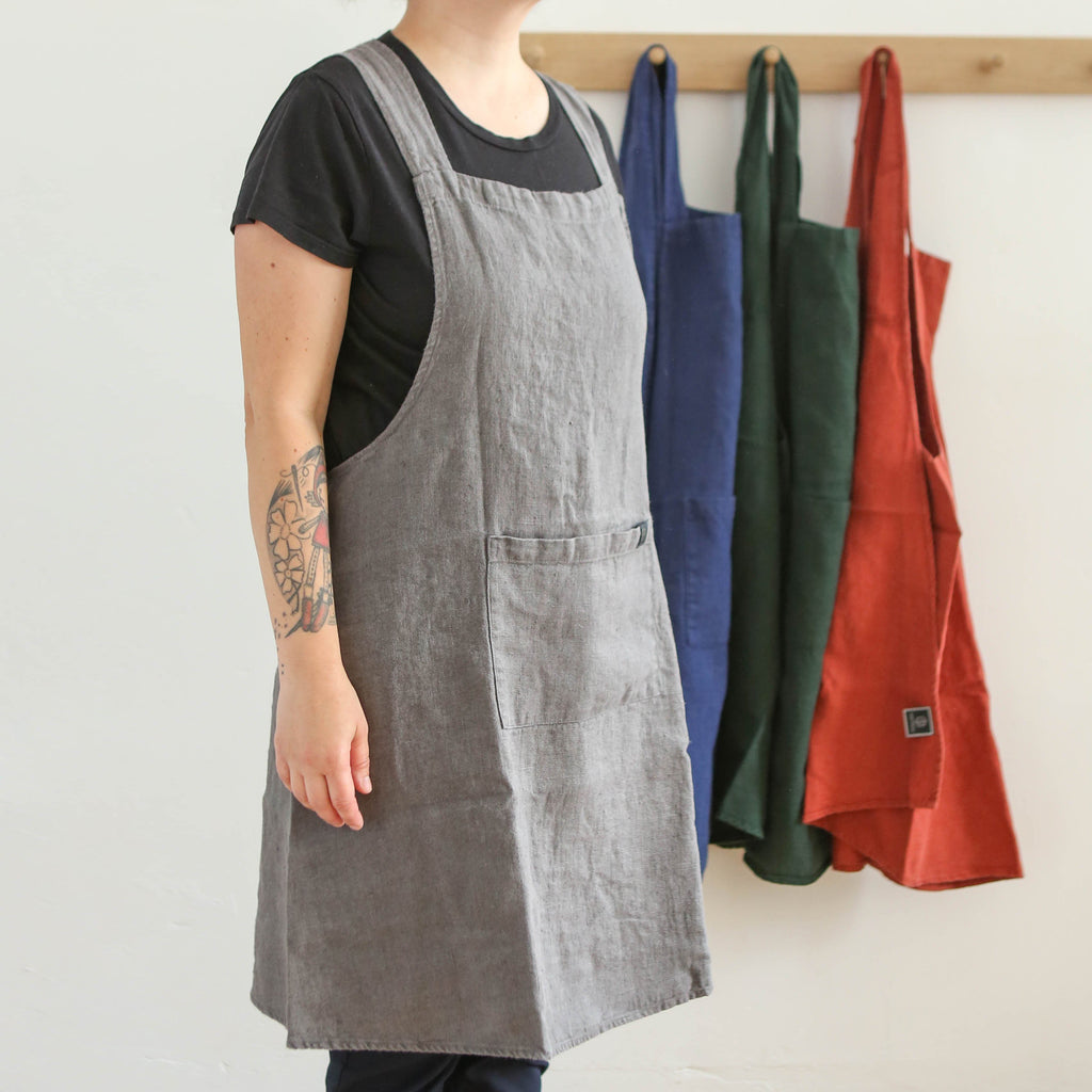Washed Linen Japanese Style Apron - Granite