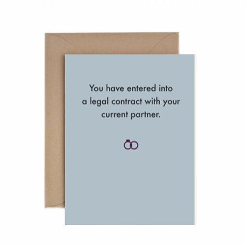 Deadpan Legal Contract Wedding Card