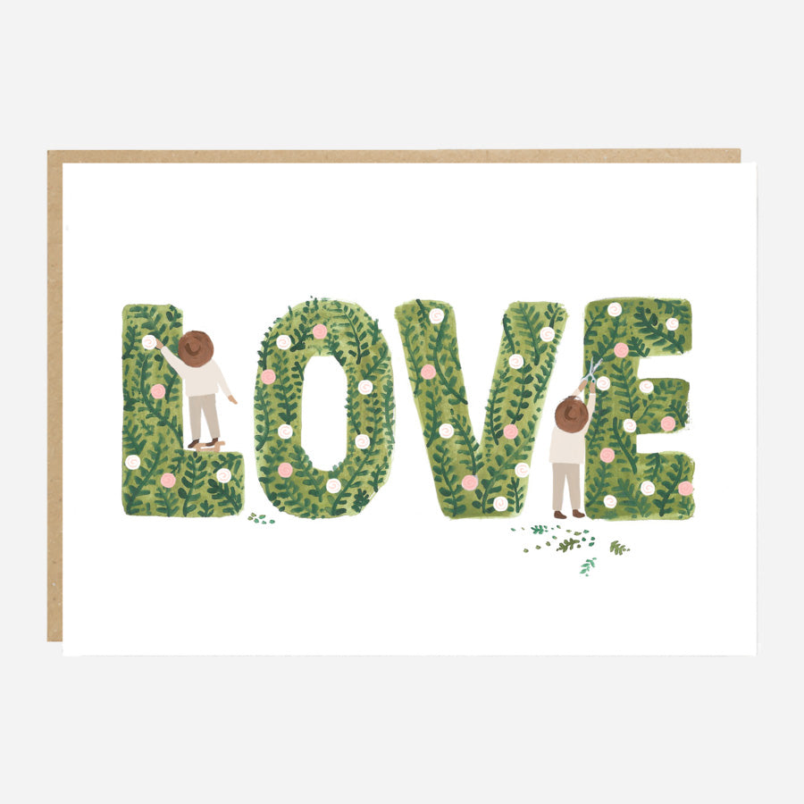 Love Topiary Wedding or Anniversary Card