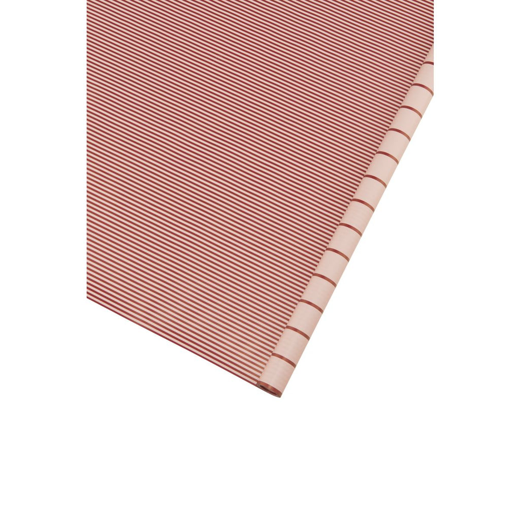 Roll of Two Sided Gift Wrap - Pink and Red Stripes