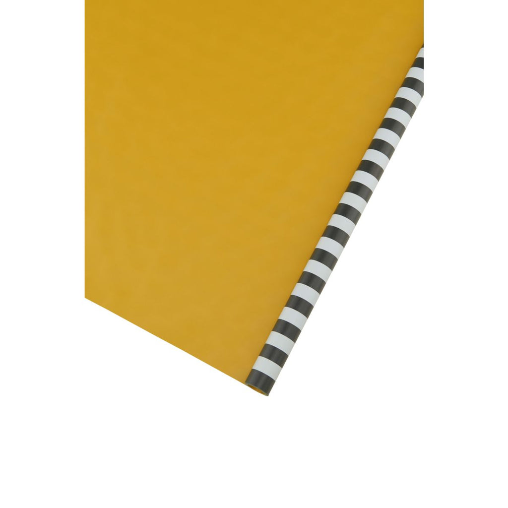 Roll of Two Sided Gift Wrap - Black Stripes With Mustard