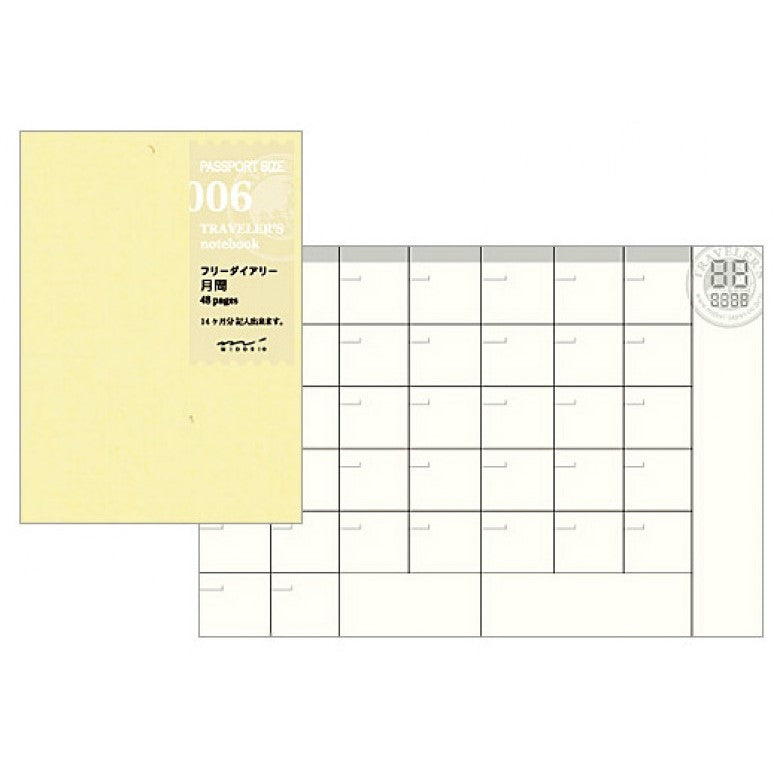 Midori Traveler's Passport Sized Refill - 006 Free Diary (Monthly)