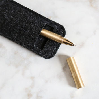 Brass Rollerball Pen In Felt Case