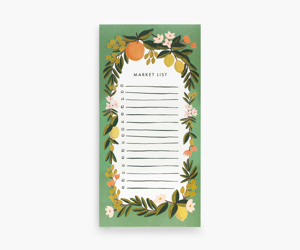 Citrus Floral Market List Shopping Pad