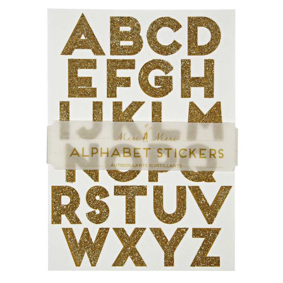 10 Gold Glitter Alphabet Sticker Sheets