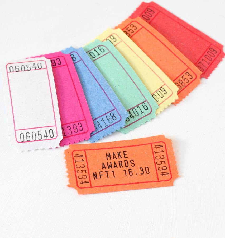 Carnival Tickets Hand Printed or Plain