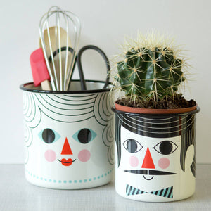 Set Of Two Retro Styled Enamel Storage Pots