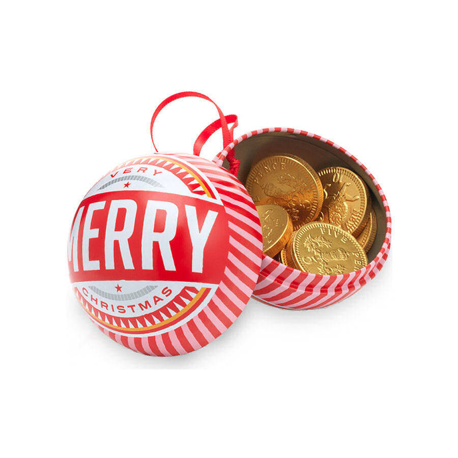Tin Christmas Bauble with Chocolate Coins