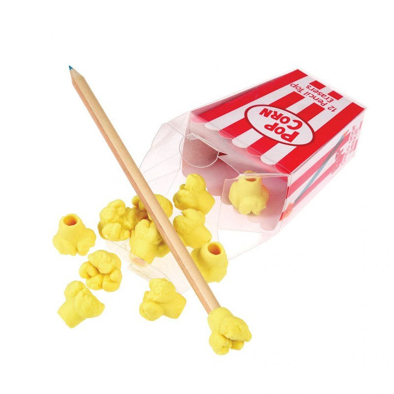 Popcorn Pencil Top Erasers